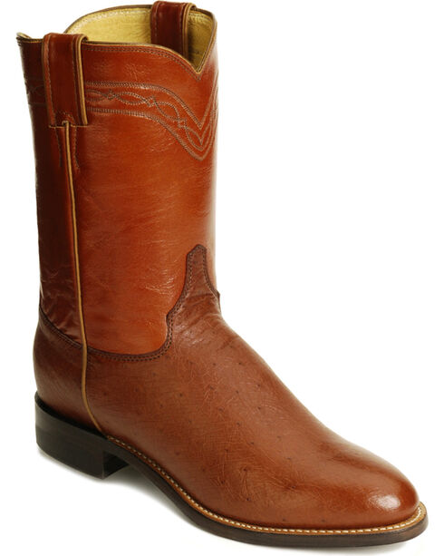 Justin Smooth Ostrich Roper Cowboy Boots, Almond, hi-res