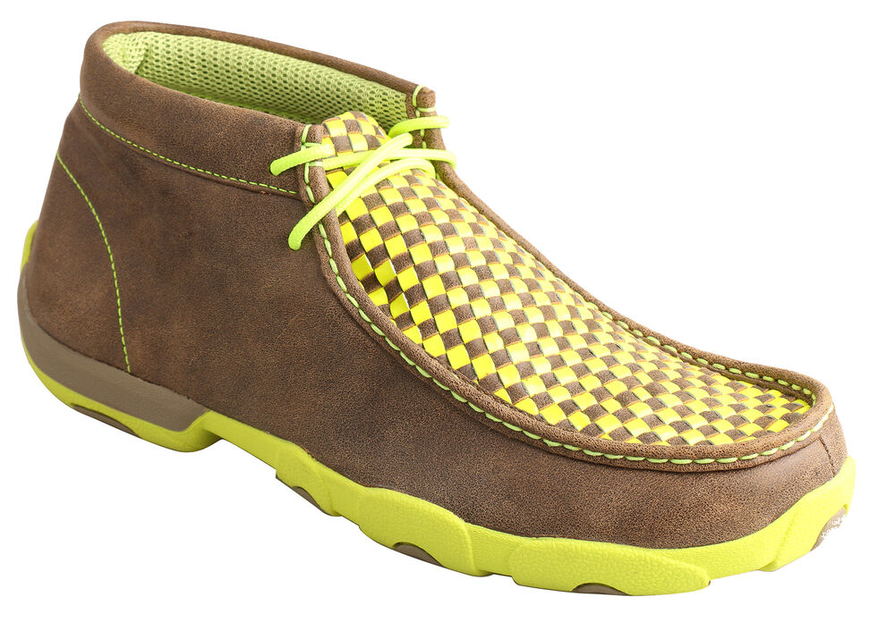 Twisted X Men's Yellow and Brown Checkerboard Driving Mocs , Bomber, hi-res