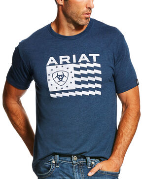 Ariat Men's Navy Old Glory Short Sleeve Tee , Navy, hi-res