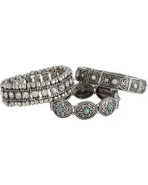 Shyanne Women's Turquoise Rhinestone Multi Bracelet Set, Turquoise, hi-res