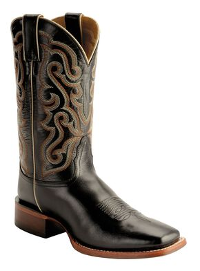 Nocona Calfskin Leather Cowboy Boots - Square Toe, Black, hi-res