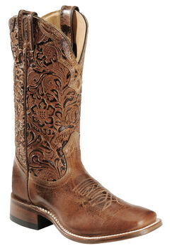 Boulet Hand Tooled Calf Cowgirl Boots - Square Toe, , hi-res