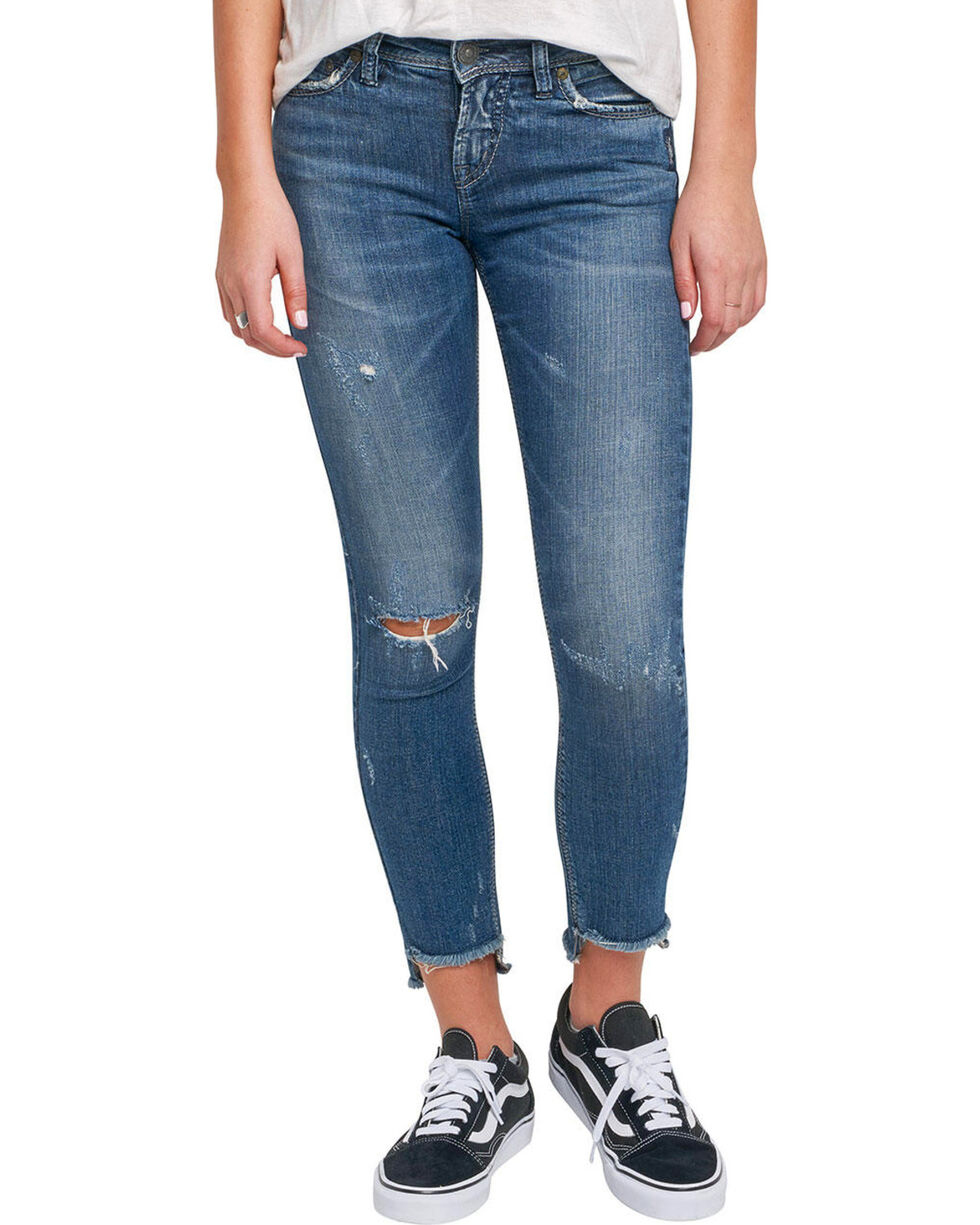 Silver Women's Calley Ankle Skinny Jeans, Indigo, hi-res