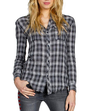 MM Vintage Women's Embroidered Plaid Long Sleeve Shirt, Grey, hi-res