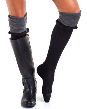Bootights Women's Slouchy Grey Boot Socks, Heather Grey, hi-res