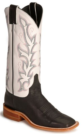 Justin Bent Rail Black Calf Cowboy Boot - Square Toe, Black, hi-res