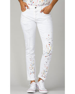 MM Vintage Women's Ava Boyfriend Jeans , White, hi-res