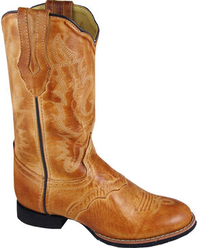 Smoky Mountain Showdown Cowgirl Boots - Round Toe, Tan, hi-res