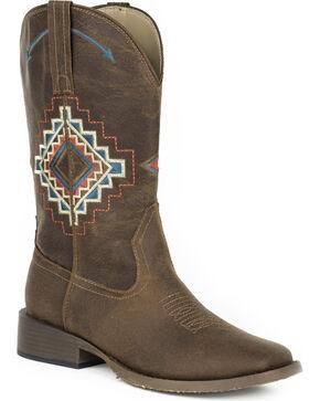 Roper Women's Brown Naomi Western Boots - Square Toe , Brown, hi-res
