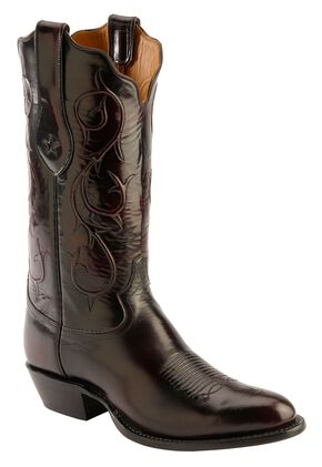 Tony Lama Signature Series Black Cherry Brushed Goat Cowboy Boots - Round Toe, Black Cherry, hi-res
