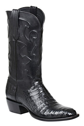 Lucchese Handmade 1883 Men's Charles Crocodile Belly Cowboy Boots - French Toe, Black, hi-res