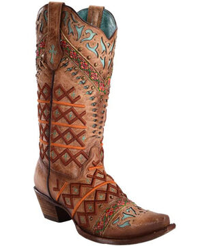 Corral Women's Straw Inlay Embroidered Stud Cowgirl Boots - Snip Toe, Brown, hi-res