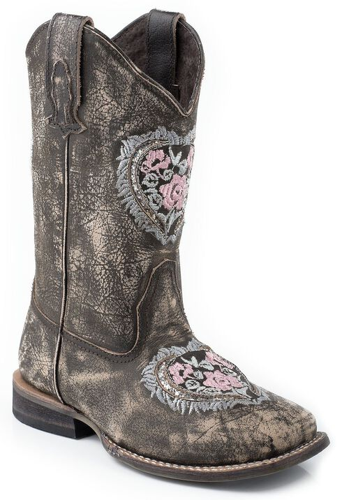Roper Girls' Heart Embroidered Glitter Inlay Cowgirl Boots - Square Toe, Brown, hi-res