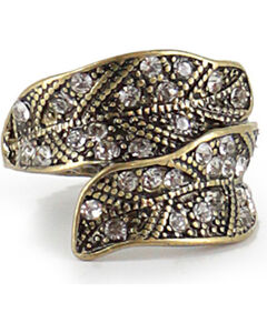Shyanne Women's Antiqued Gold-Tone Feather Ring, Gold, hi-res