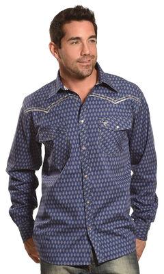 Cowboy Hardware Men's Navy Dashed Diamond Print Shirt , , hi-res