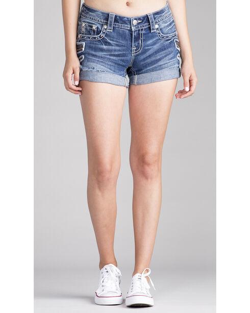 Miss Me Women's Stud Pocket Rolled Cuff Shorts , Indigo, hi-res