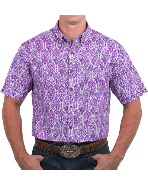 Noble Outfitters Men's Paisley Plum Short Sleeve Button Down Shirt, Purple, hi-res