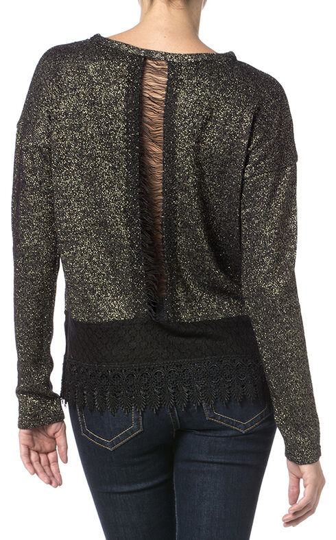 Miss Me Women's Lace Border Knit Top , Black, hi-res