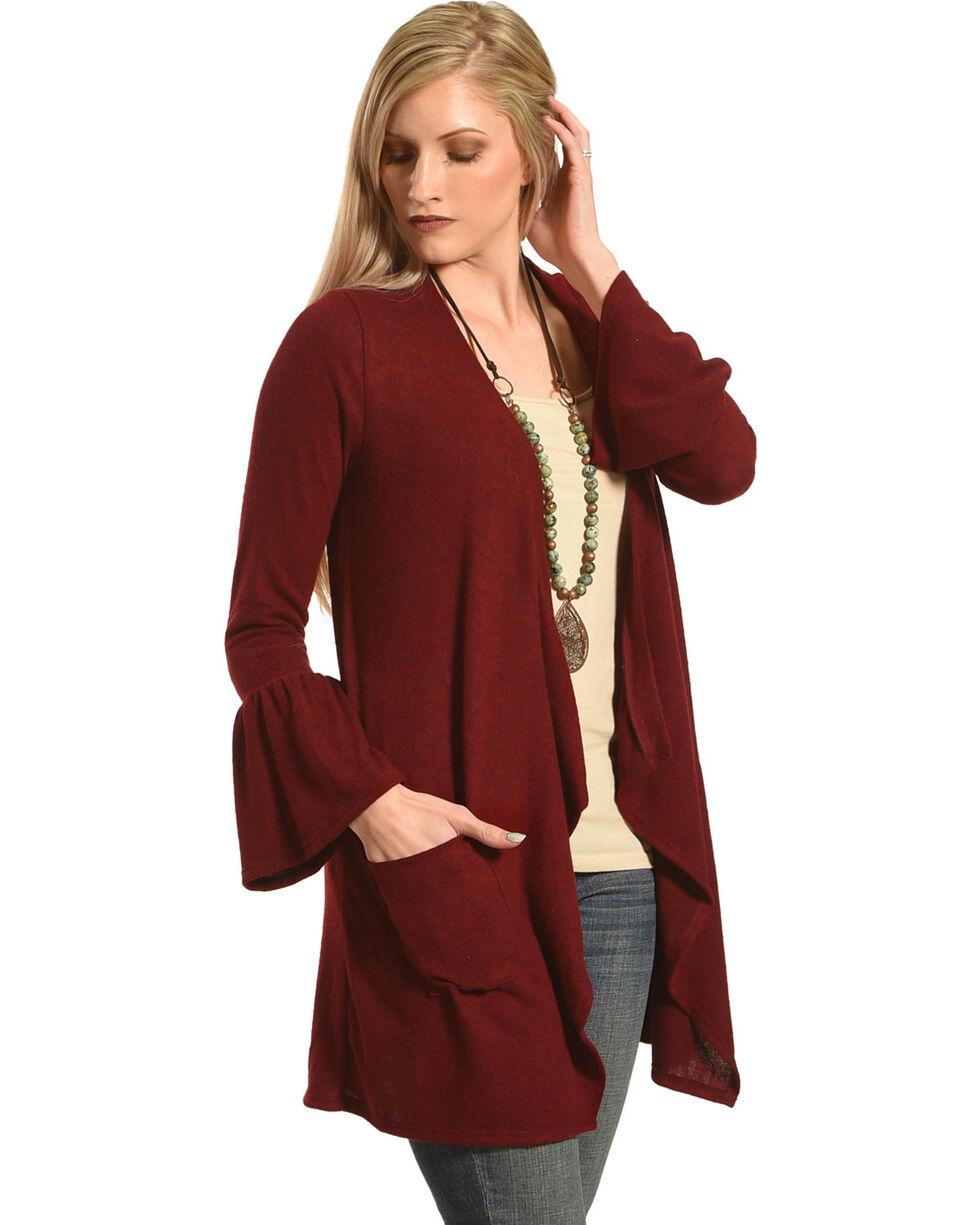 Moa Moa Burgundy Brushed Knit Bell Sleeve Cardigan, , hi-res
