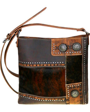 Trinity Ranch Women's Coffee Hair-On Concealed Carry Crossbody Bag , Dark Brown, hi-res