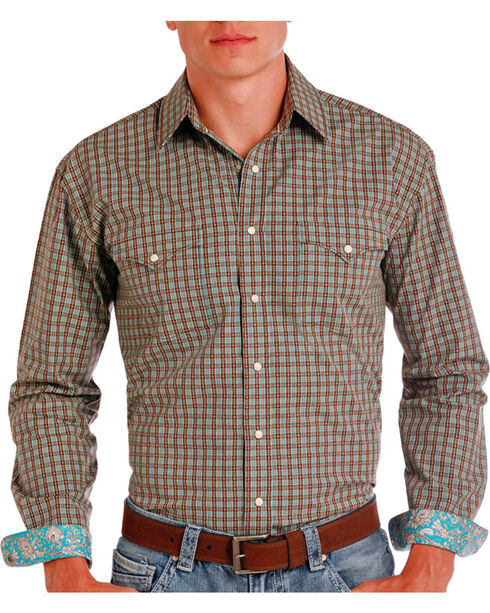 Rough Stock Men's Brown Check Patterned Contrast Trim Plaid Shirt , Brown, hi-res