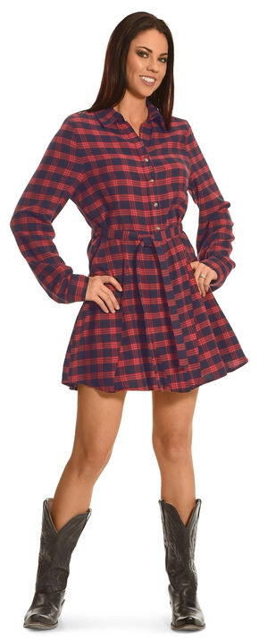 Shyanne Women's Flannel Shirt Dress, Am Spirit, hi-res