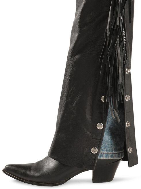 Leather Fringe Chaps, Black, hi-res