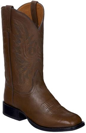 Lucchese Handmade Brown Jason Lone Star Calf Cowboy Boots - Square Toe , Brown, hi-res