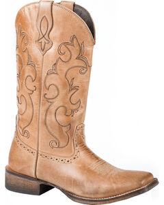 Roper Lindsey Tan Cowgirl Boots - Square Toe, , hi-res