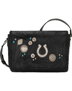 American West Women's Lariat Love Crossbody Bag/Wallet, Black, hi-res