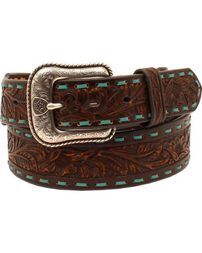 Ariat Men's Laced Floral Leather Belt , Brown, hi-res