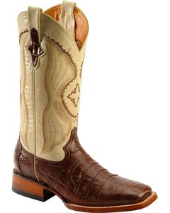 Ferrini Chocolate Caiman Belly Cowboy Boots - Wide Square Toe, , hi-res