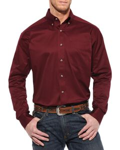 Ariat Burgundy Twill Long Sleeve Shirt, Burgundy, hi-res
