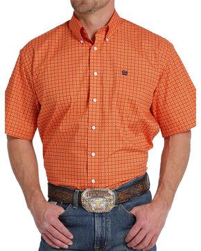 Cinch Men's Orange Print Short Sleeve Button Down Shirt, Orange, hi-res