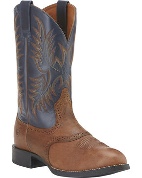 Ariat Heritage Stockman Cowboy Boots - Round Toe, Brown, hi-res