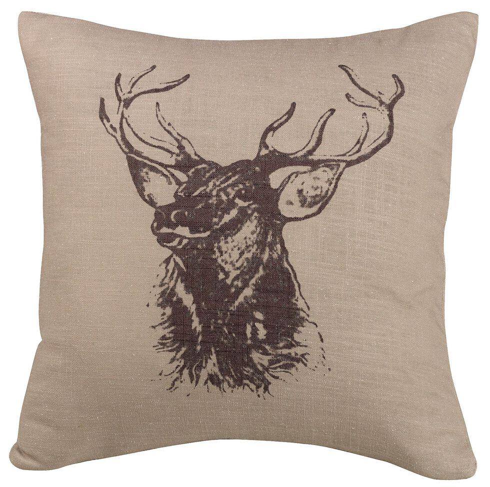 HiEnd Accents Elk Bust Accent Pillow, Beige, hi-res