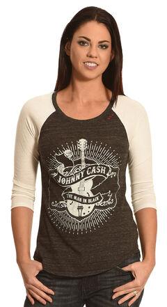 Bohemian Cowgirl Women's Johnny Cash Raglan Tee, Black, hi-res