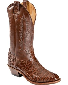 Boulet Caiman Belly Cowboy Boots - Round Toe, Brown, hi-res