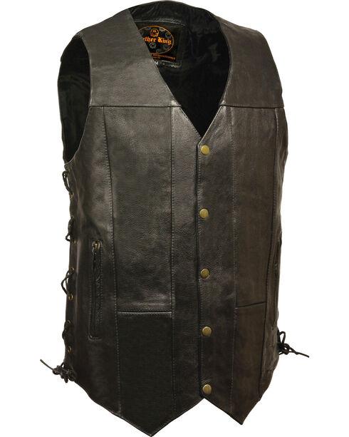 Milwaukee Leather Men's Black 10 Pocket Side Lace Vest - Tall , Black, hi-res