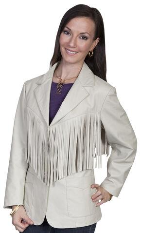 Scully Women's Lamb Leather Fringe Jacket, Cream, hi-res