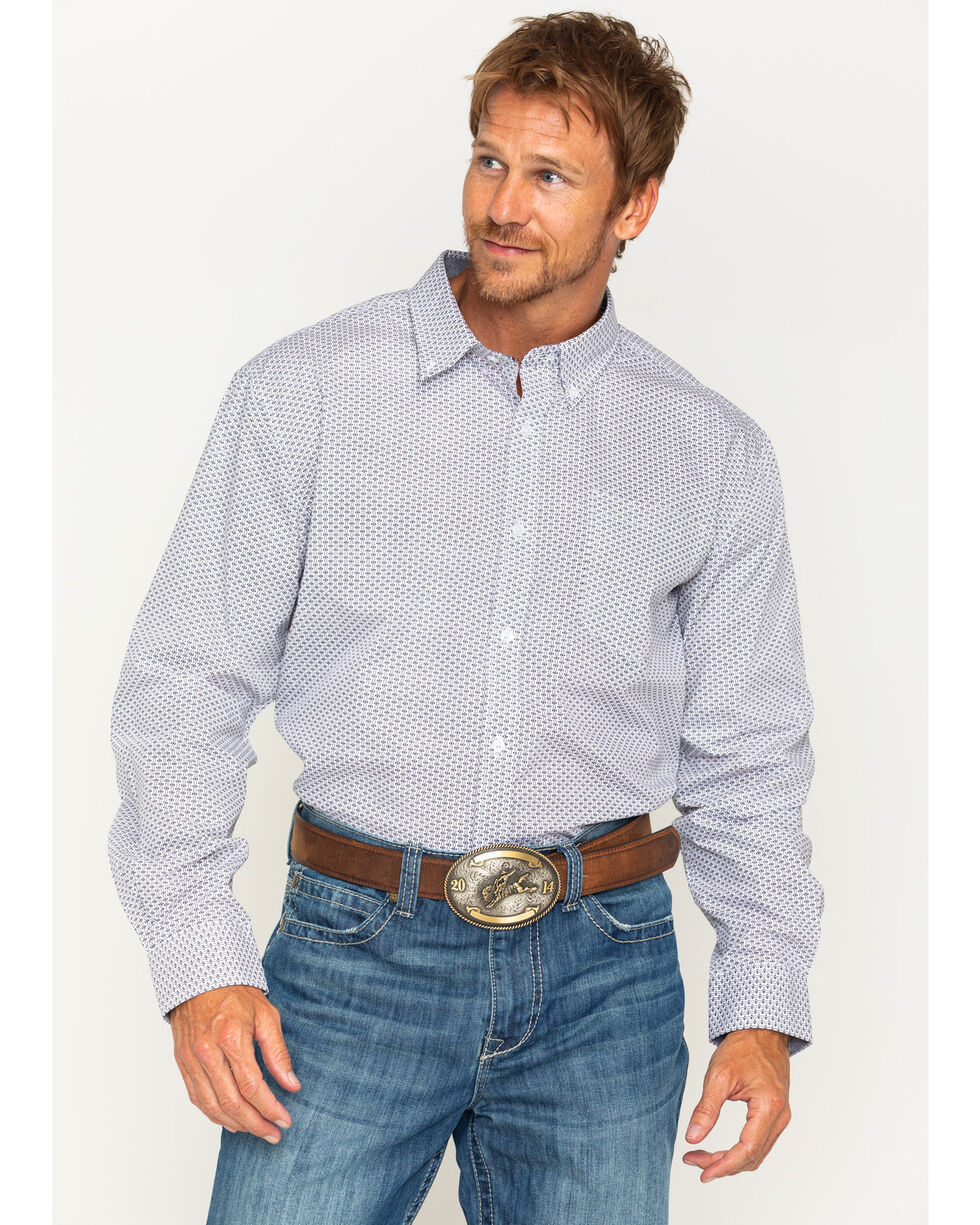 Cody James Men's Frisco Diamond Patterned Long Sleeve Shirt, Blue, hi-res