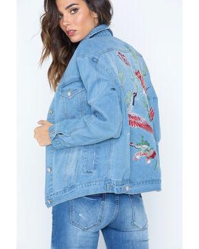 Illa Illa Women's Embroidered Boyfriend Denim Jacket, Indigo, hi-res