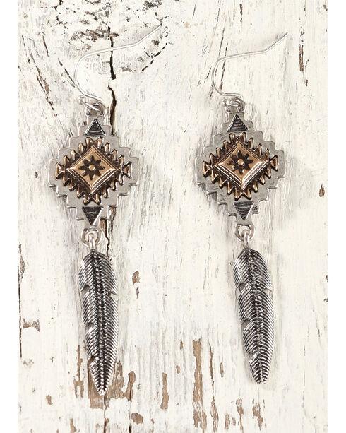 Shyanne Women's Aztec Feather Dangle Earrings, Gold, hi-res