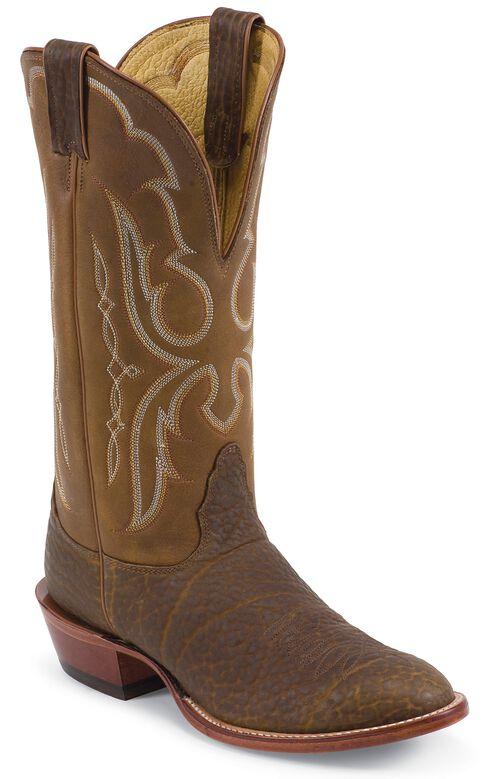 Nocona Bull Shoulder Western Cowboy Boots - Wide Round Toe, Cognac, hi-res