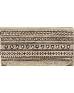 American West Women's Trading Post Tri-Fold Wallet, Sand, hi-res