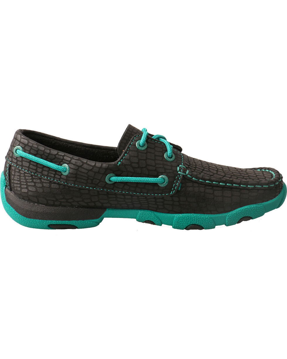 Twisted X Women's Scaled Driving Mocs - Moc Toe, Black, hi-res