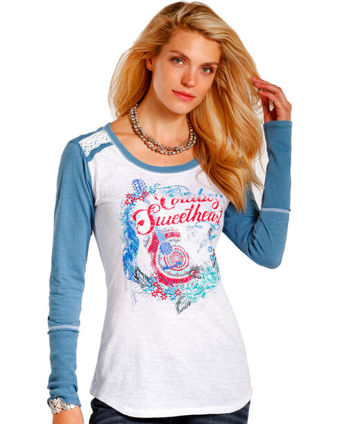 Panhandle Women's White Cowboy Sweetheart Graphic Shirt , White, hi-res