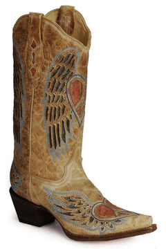 Corral Heart Angel Wing Cowgirl Boots - Snip Toe, , hi-res