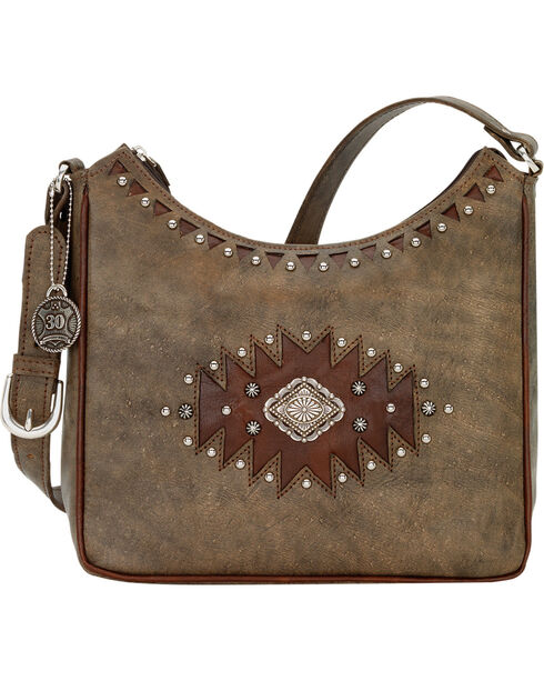 American West Annie's Secret Diamond Concho Hidden Compartment Shoulder Bag, Rustic Brn, hi-res