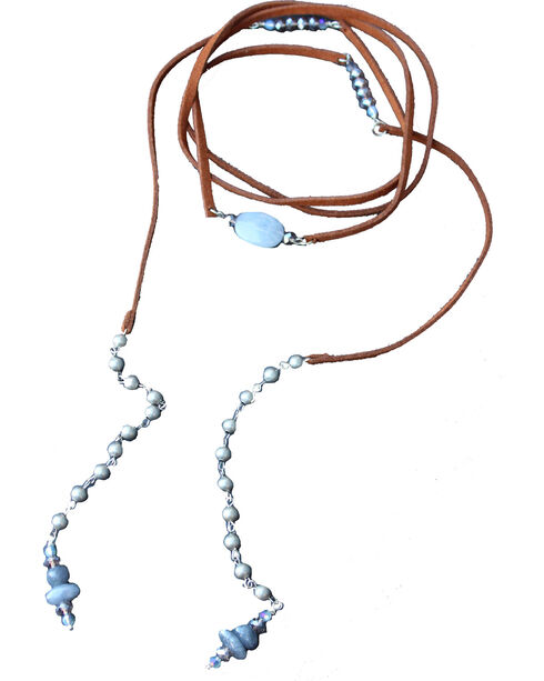 2 Queen B's Women's Blue Serenity Wrap Suede Necklace , Blue, hi-res